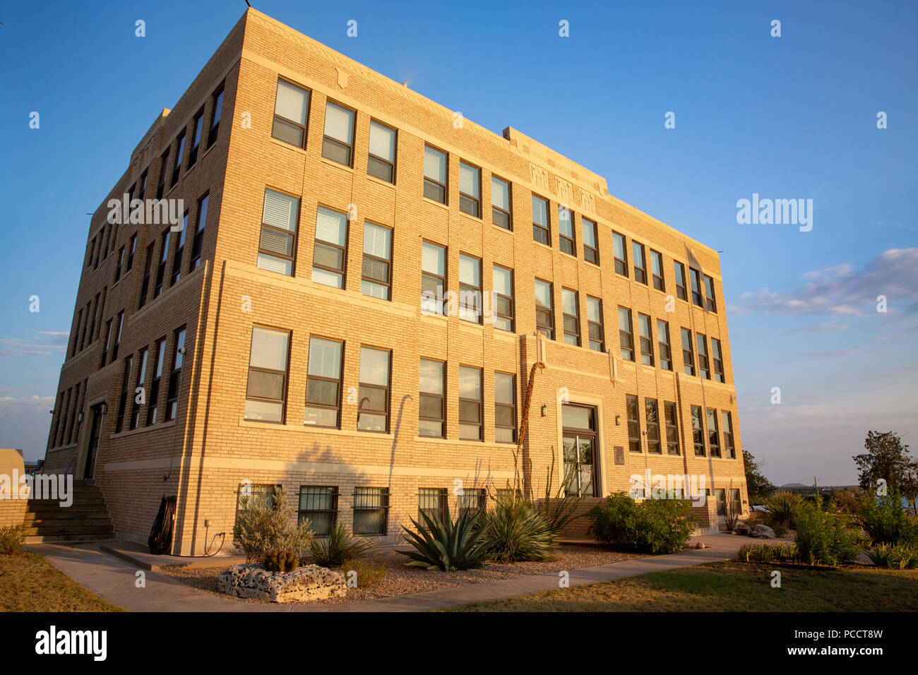 The historic 1937 Irion County courthouse in Merzon Texas in Art-Modern style. Stock Photo