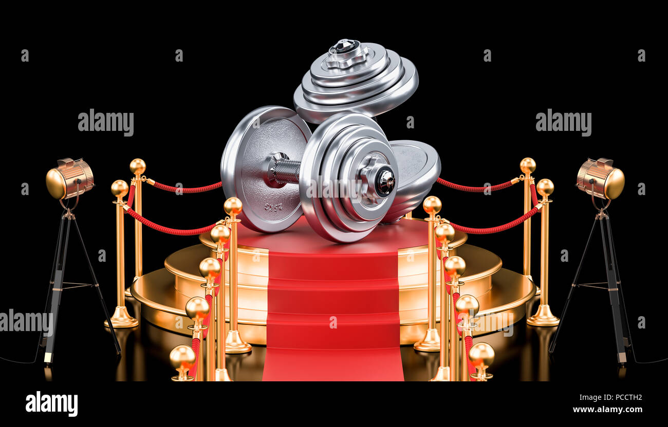 Podium with dumbbells, 3D rendering isolated on black background - Stock Image