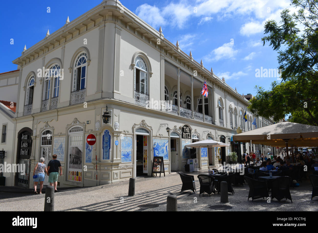 Facade and exterior cafe of The Ritz, Av. Arriaga,  Funchal, Madeira, Portugal - Stock Image