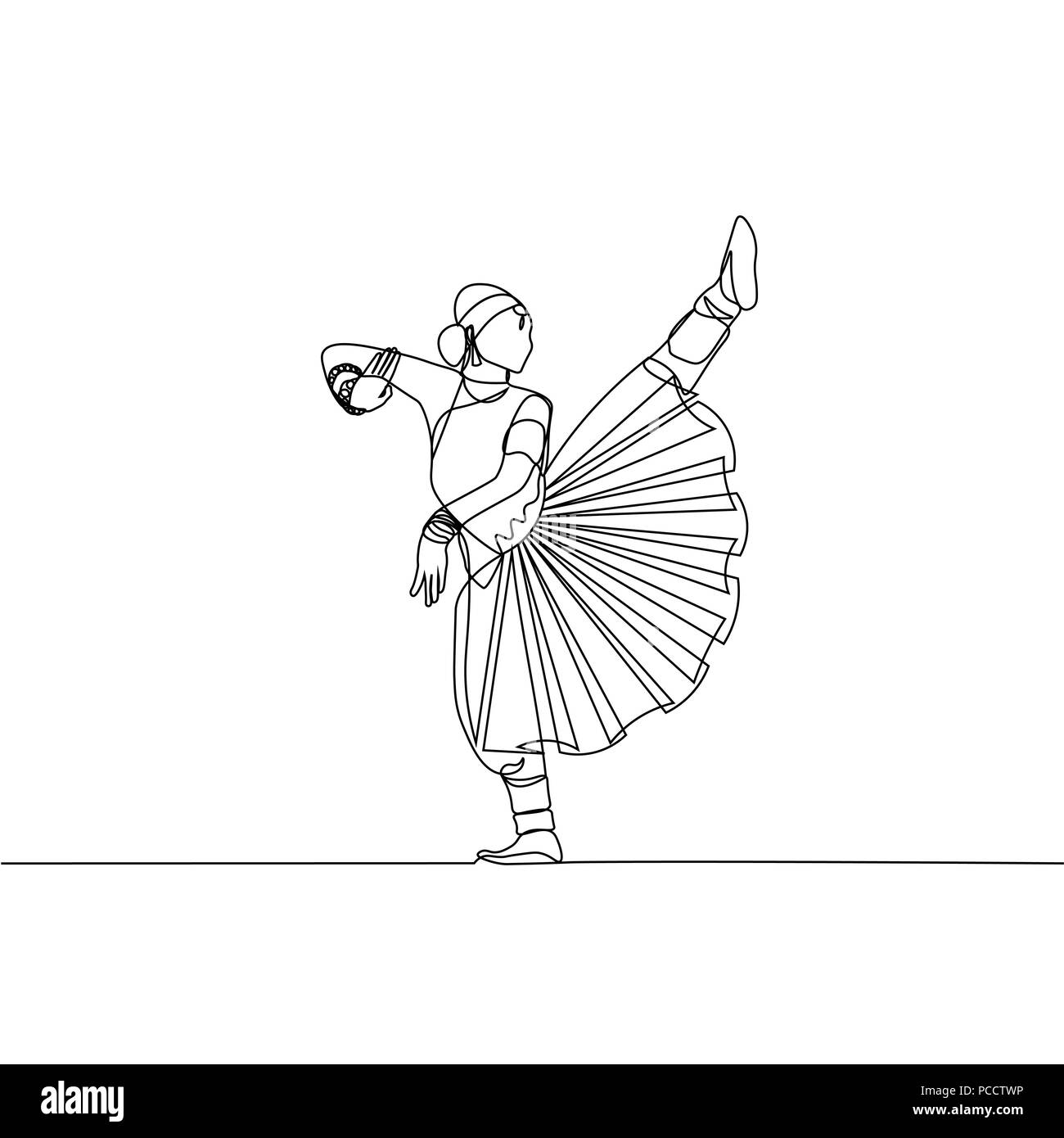 Continuous line drawing womens indian dance alapadma opened lotus