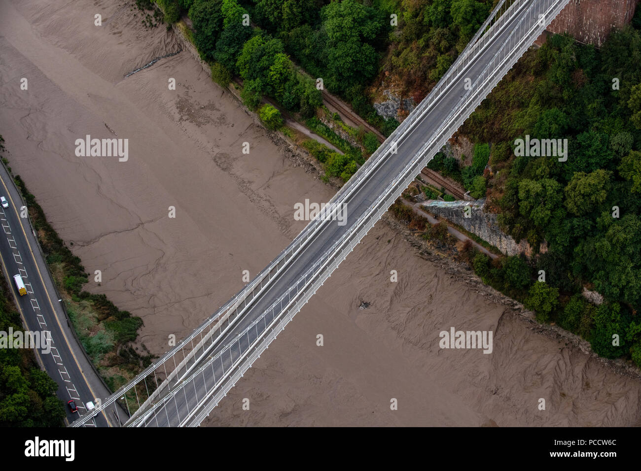 An aerial view of Clifton Suspension Bridge in Bristol, United Kingdom during the summer. Stock Photo