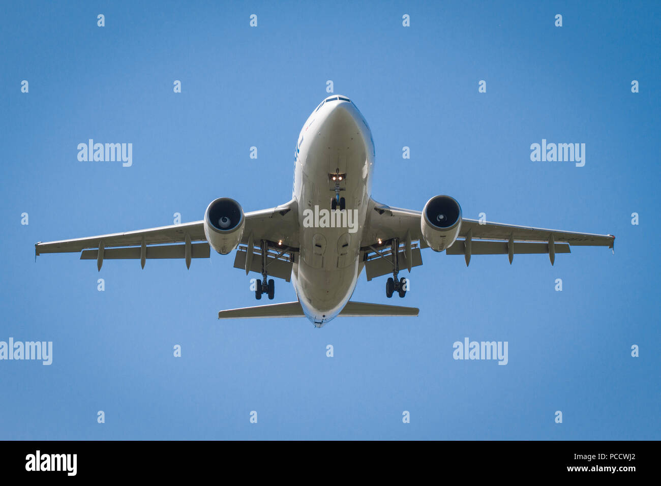 Air Transit C-GFAT Airbus A310-308 taking off from Manchester Airport - Stock Image