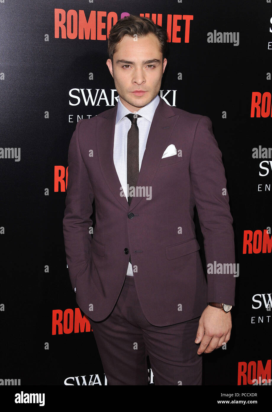 Ed Westwick  arriving at the Romeo & Juliet Premiere at the Arclight Theatre In Los Angeles.Ed Westwick  ------------- Red Carpet Event, Vertical, USA, Film Industry, Celebrities,  Photography, Bestof, Arts Culture and Entertainment, Topix Celebrities fashion /  Vertical, Best of, Event in Hollywood Life - California,  Red Carpet and backstage, USA, Film Industry, Celebrities,  movie celebrities, TV celebrities, Music celebrities, Photography, Bestof, Arts Culture and Entertainment,  Topix, Three Quarters, vertical, one person,, from the year , 2013, inquiry tsuni@Gamma-USA.com - Stock Image
