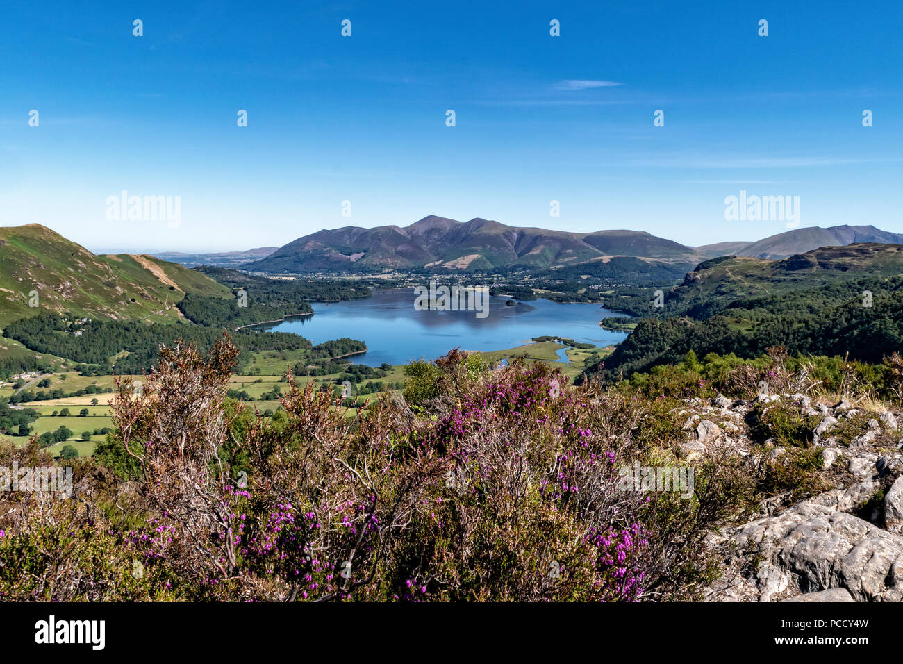 Looking across Derwent Water to Keswick and Skiddaw from King's How on Grange Fell - Stock Image