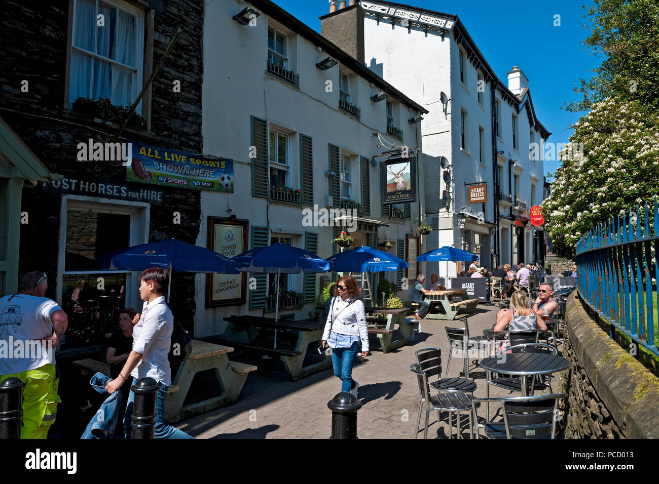 Pubs and restaurants on Church Street Bowness on Windermere Cumbria England UKUnited Kingdom GB Great Britain - Stock Image