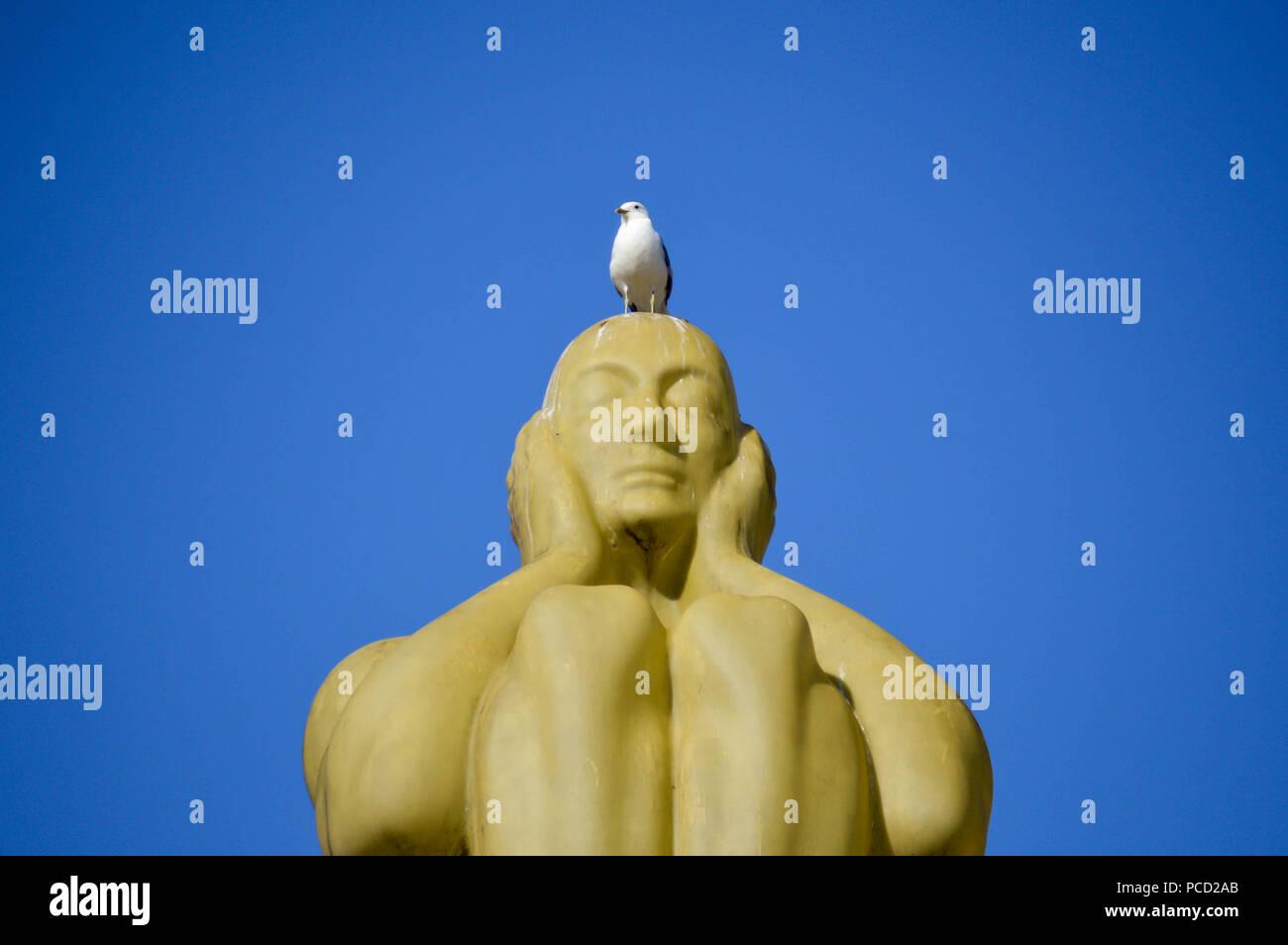 Seagull resting ona a deaf man monument in Gothenburg, Sweden. - Stock Image