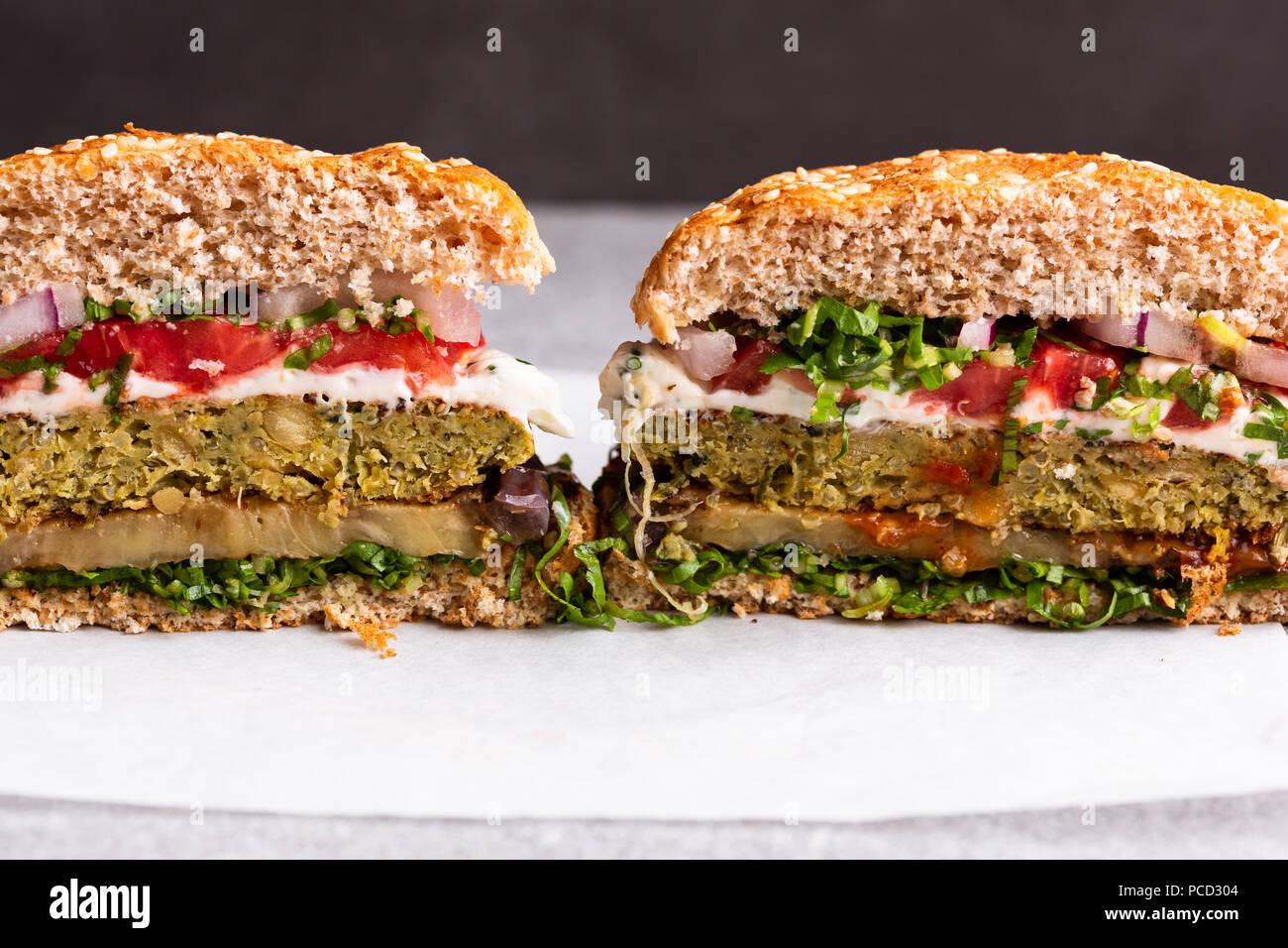 Cut in half vegetarian Burger Stock Photo
