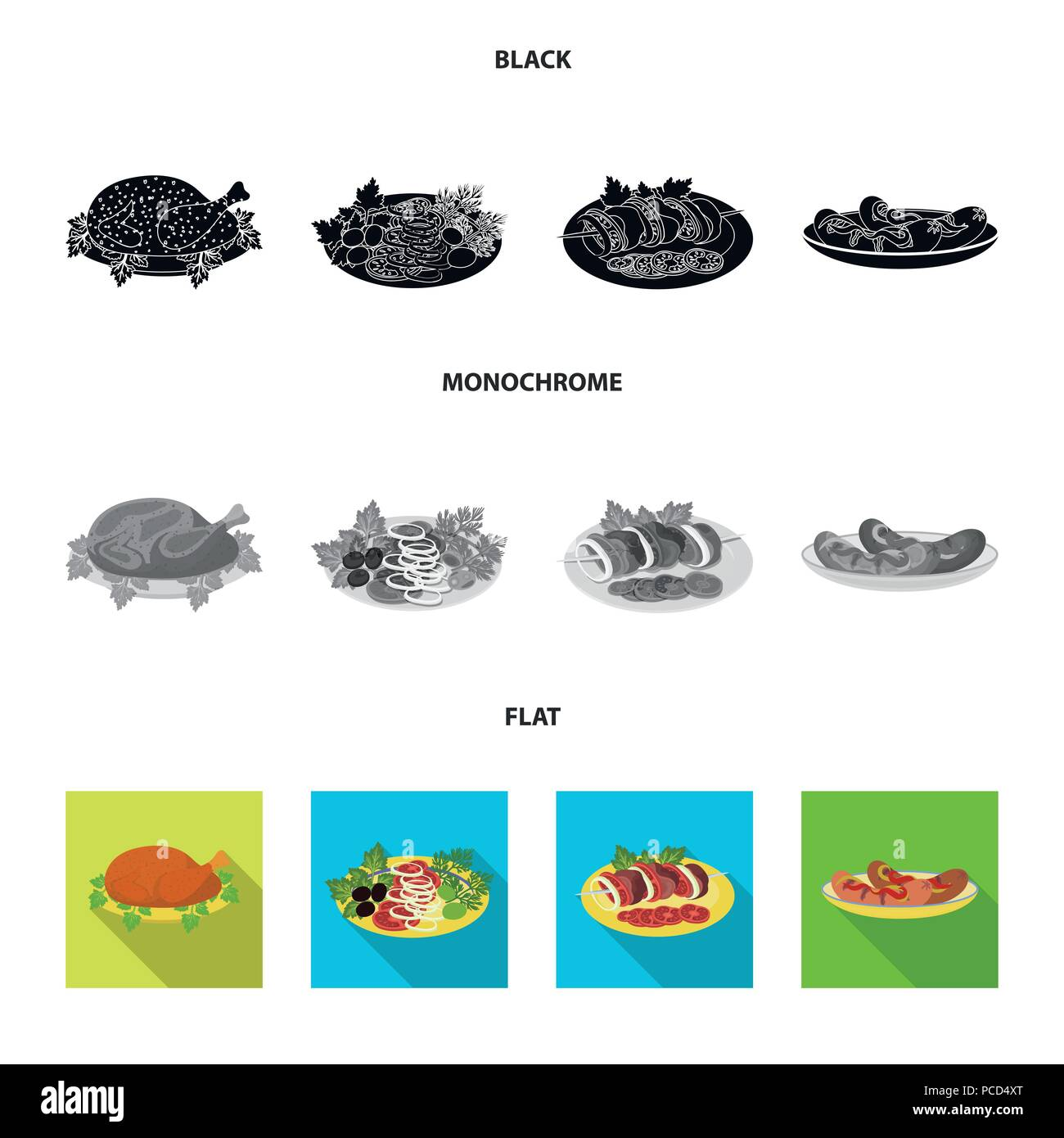 Fried chicken, vegetable salad, shish kebab with vegetables, fried sausages on a plate. Food and Cooking set collection icons in black, flat, monochro - Stock Image