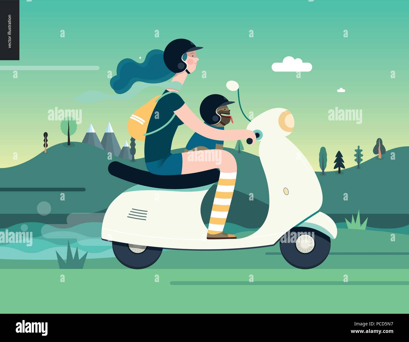 Girl on a scooter -flat vector concept illustration of blue-haired girl wearing helmet riding a white scooter, a french bulldog on lap wearing small h Stock Vector