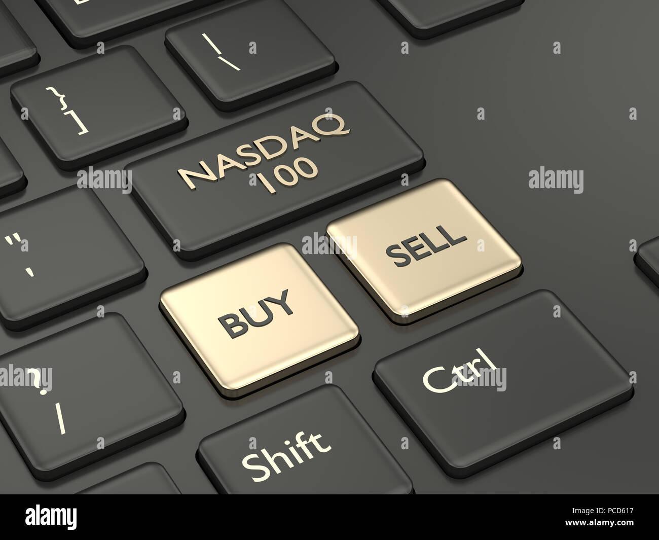 3d render closeup of computer keyboard with NASDAQ 100 index button. Stock market indexes concept. - Stock Image