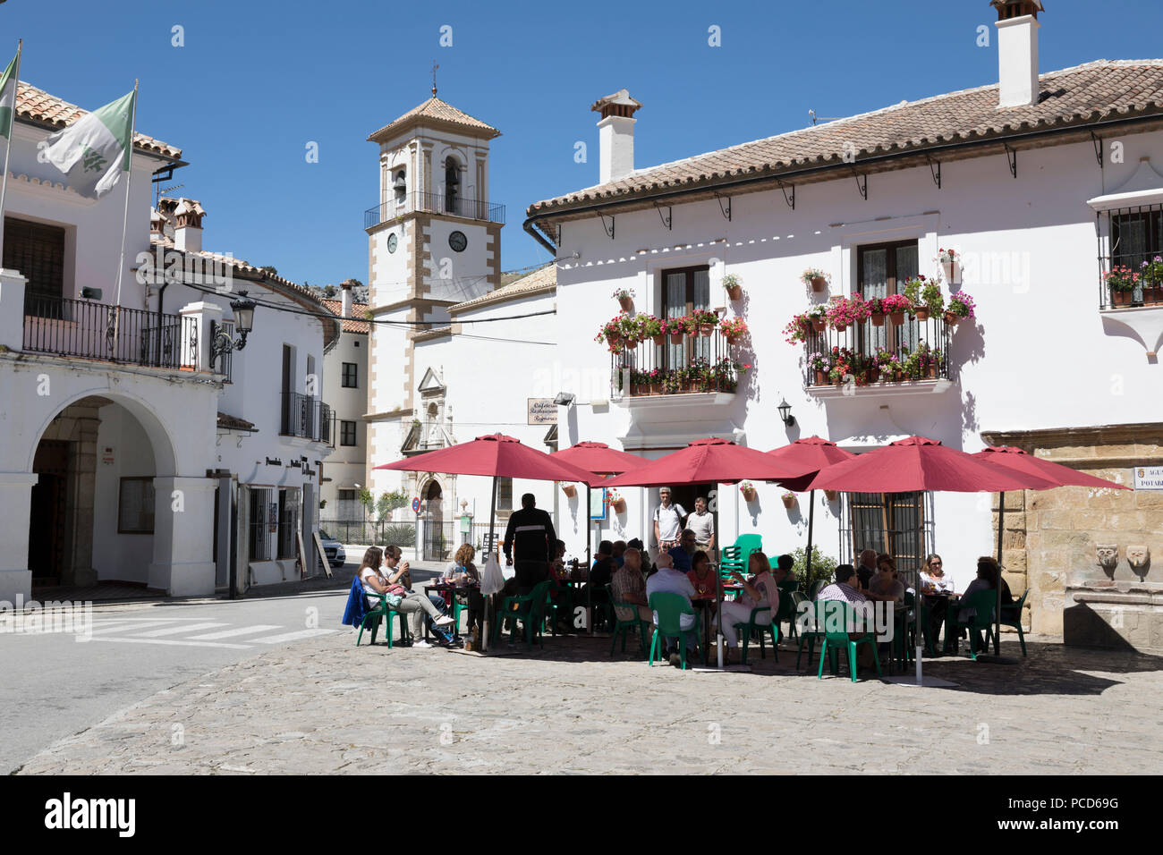 Cafe in town square, Grazalema, Sierra de Grazalema Natural Park, Andalucia, Spain, Europe - Stock Image