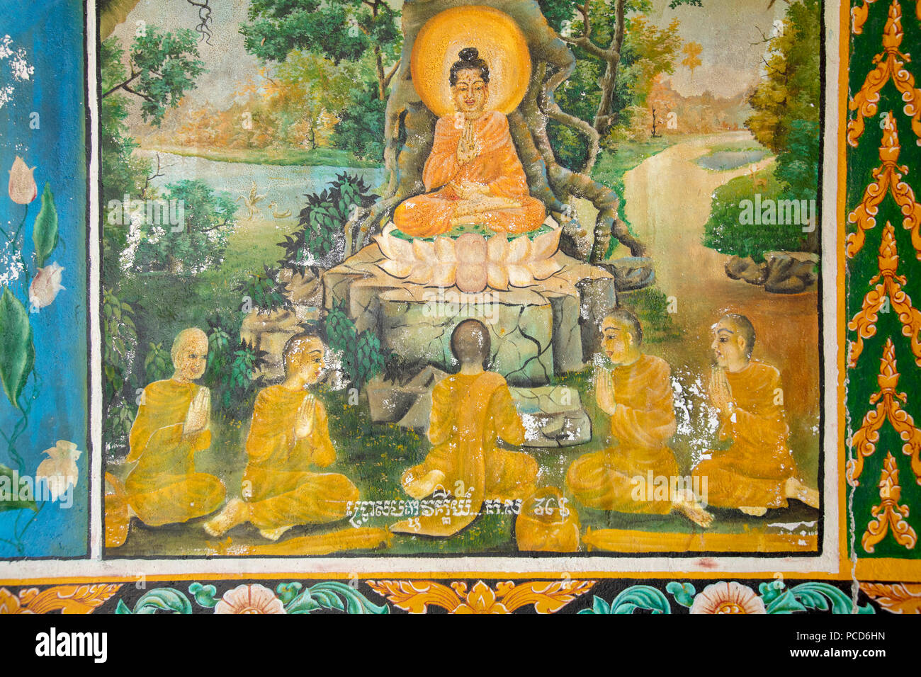 Mural showing scenes from the life of the Buddha, Takeo, Cambodia, Indochina, Southeast Asia, Asia - Stock Image