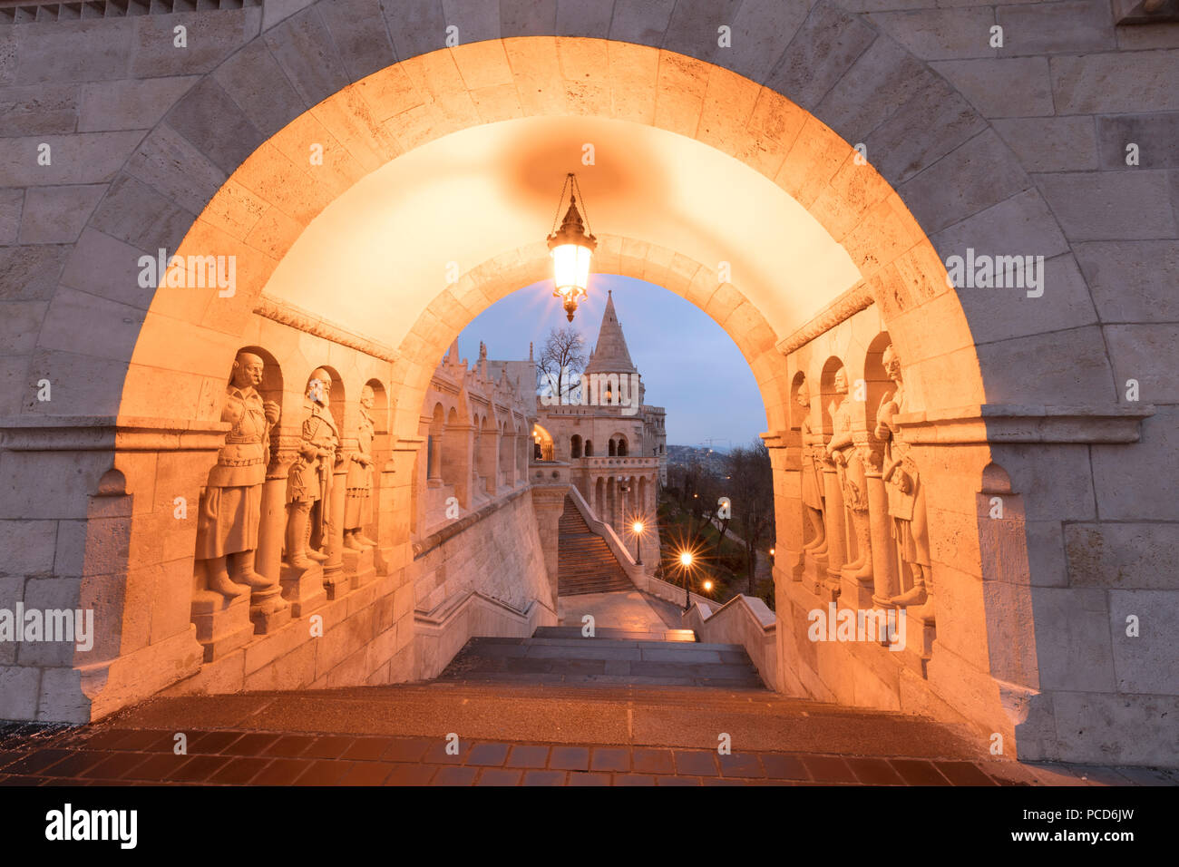 Matthias Church seen from Fisherman's Bastion, Budapest, Hungary, Europe - Stock Image