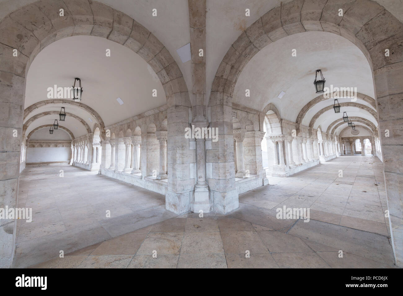 Archways, Fisherman's Bastion, Budapest, Hungary, Europe - Stock Image