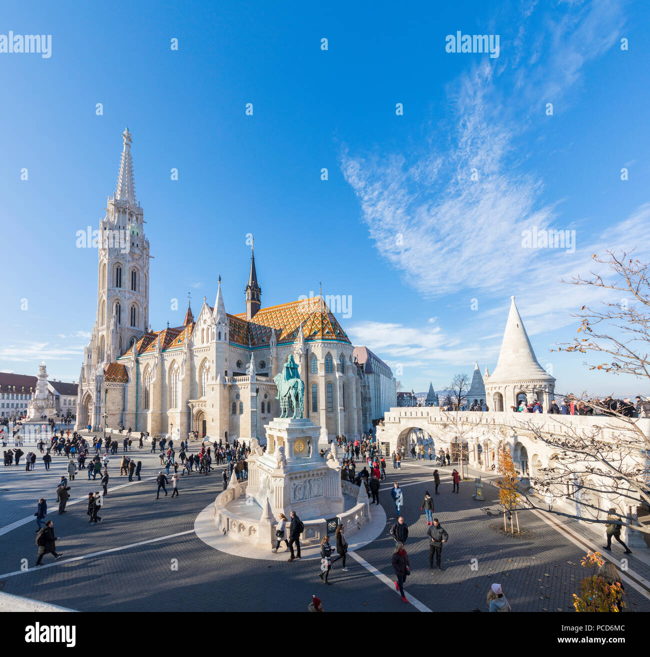 Panoramic of Matthias Church and Fisherman's Bastion, Budapest, Hungary, Europe - Stock Image