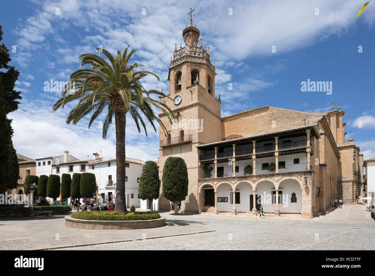 Iglesia de Santa Maria la Mayor in the Plaza Duquesa de Parcent (Town Hall Square), Ronda, Andalucia, Spain, Europe - Stock Image