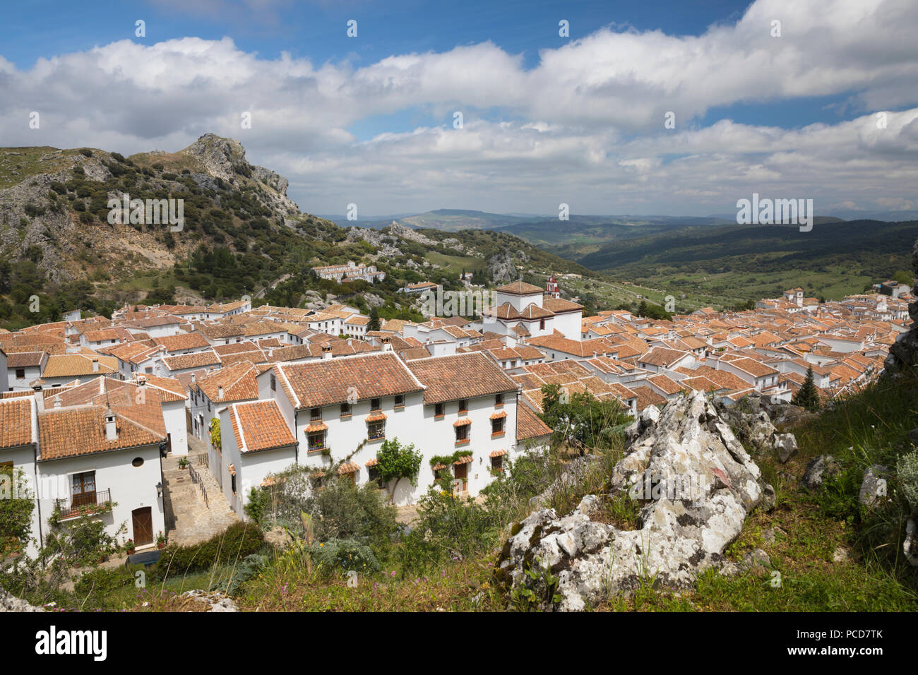 View over Andalucian white village, Grazalema, Sierra de Grazalema Natural Park, Andalucia, Spain, Europe - Stock Image