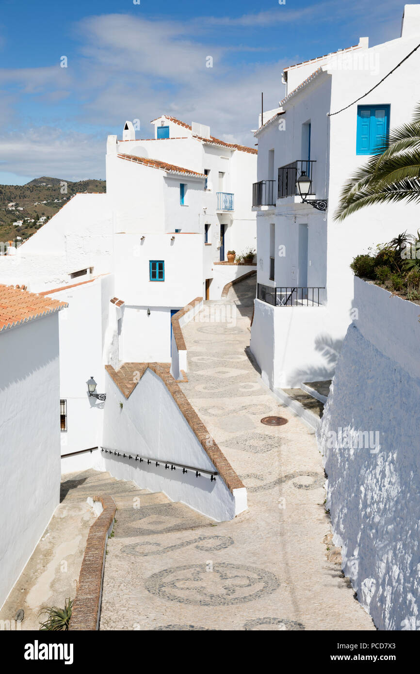 Narrow streets with whitewashed Andalucian houses, Frigiliana, Malaga Province, Costa del Sol, Andalucia, Spain, Europe - Stock Image