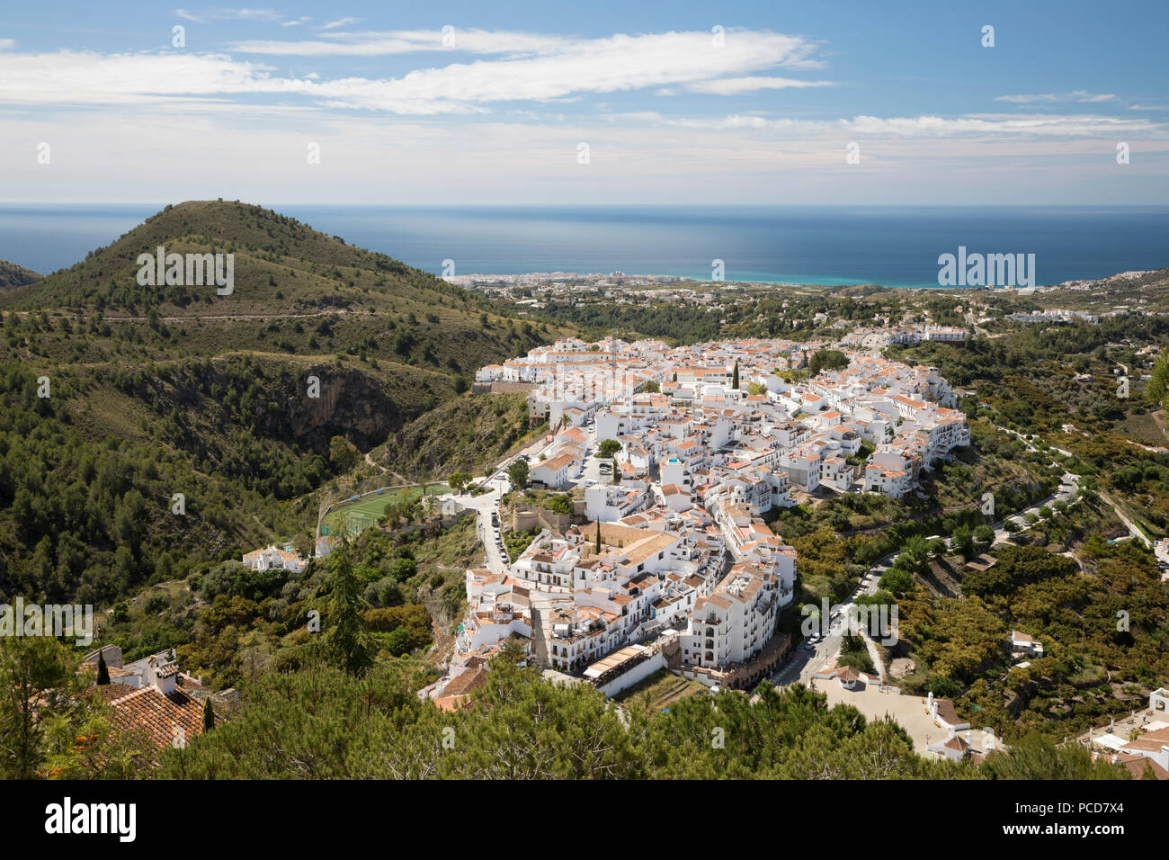 View over white Andalucian village to the sea, Frigiliana, Malaga Province, Costa del Sol, Andalucia, Spain, Europe - Stock Image