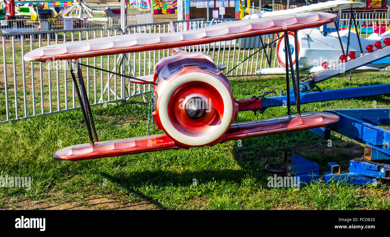 Children's Airplane Ride At Local County Fair - Stock Image