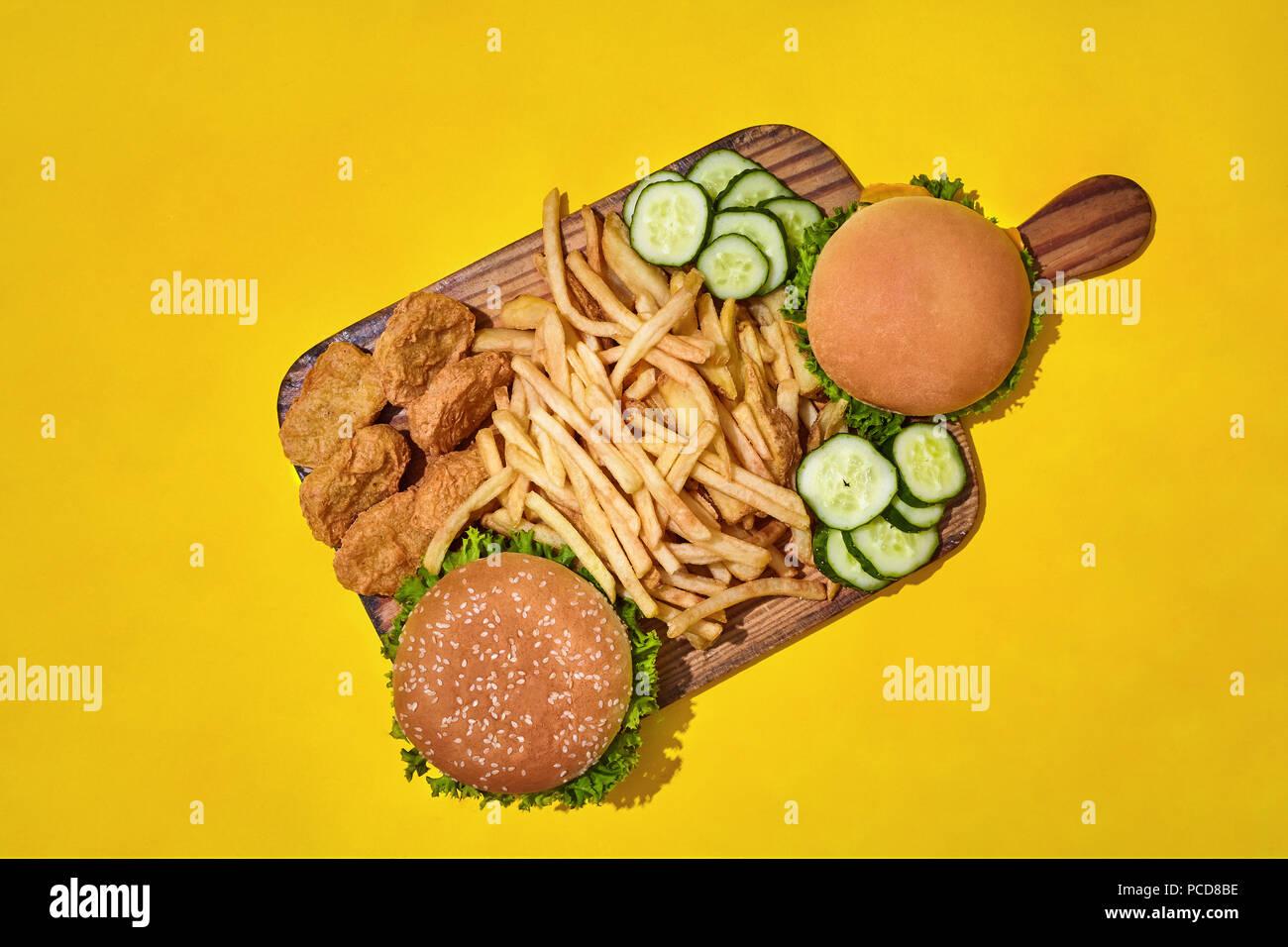 Fast Food Set Menu Yellow Gradient Background Fast Food: Pizza Chicken Burger Stock Photos & Pizza Chicken Burger