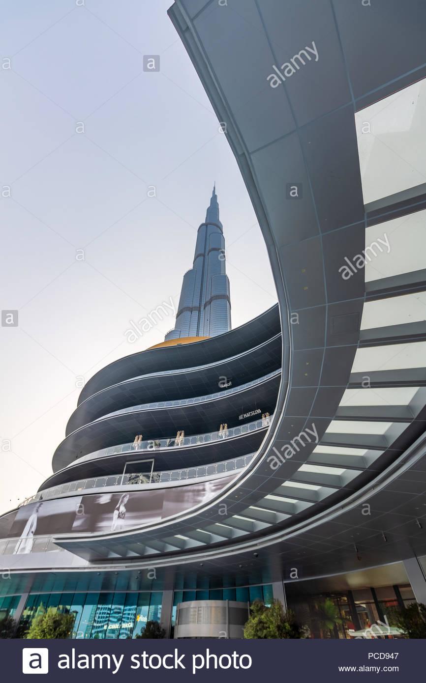 View of Burj Khalifa and the new Fashion Avenue in the Dubai Mall. - Stock Image