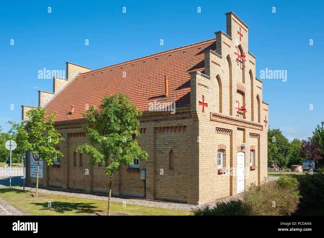 Building of the volunteer fire department Putgarten, Cape Arkona, Rügen, Mecklenburg-Vorpommern, Germany, Europe - Stock Image