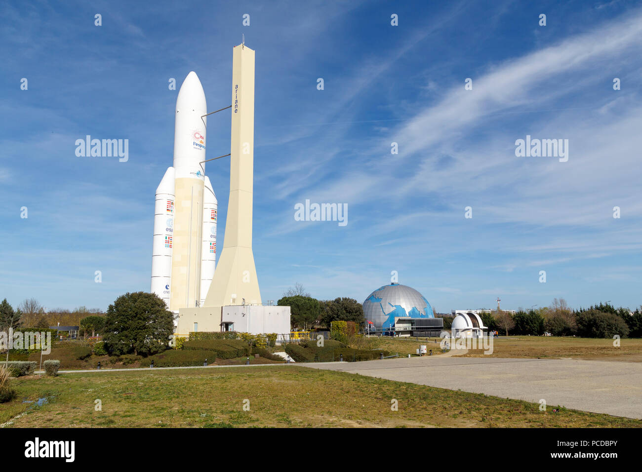 Space shuttle in the Space City of Toulouse, a theme park about aerospace industry - Stock Image