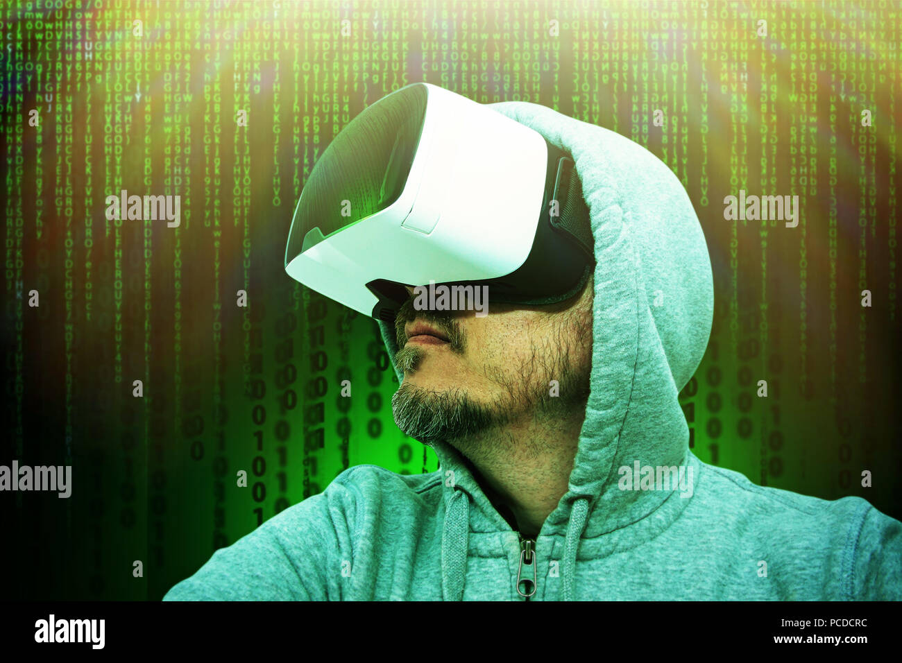 Man in cyberspace - Stock Image