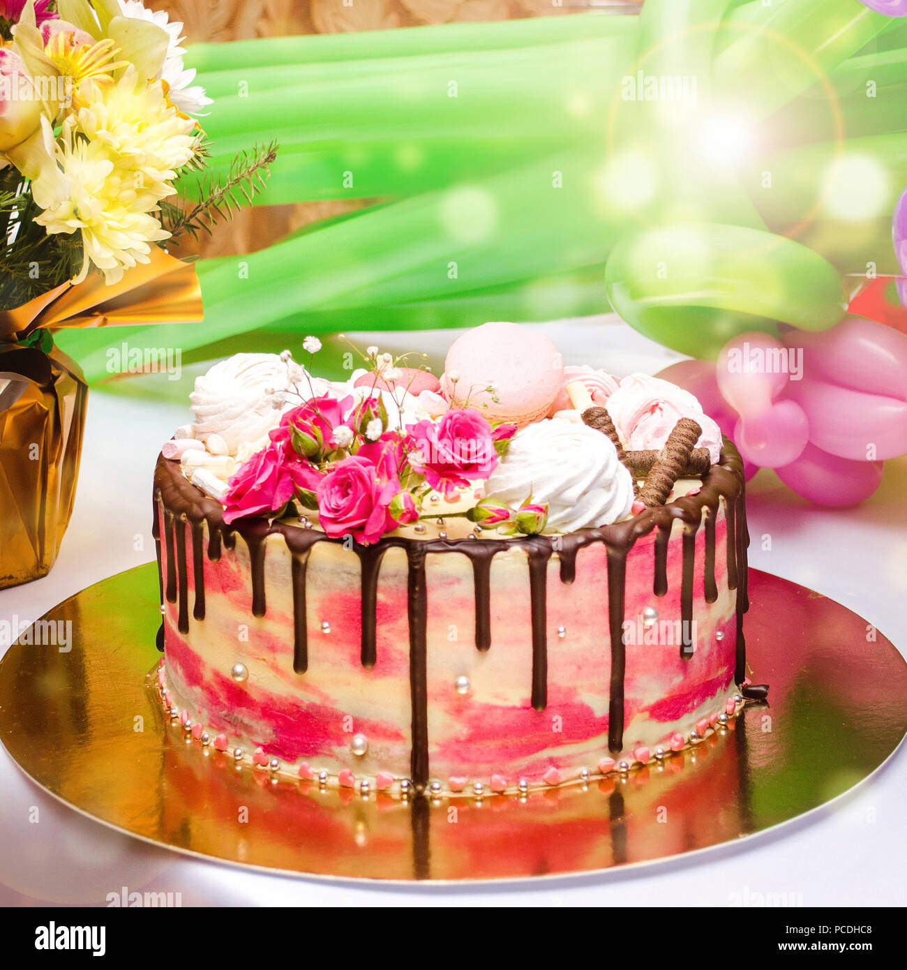Birthday Cake On The Table Sweet Bright Background