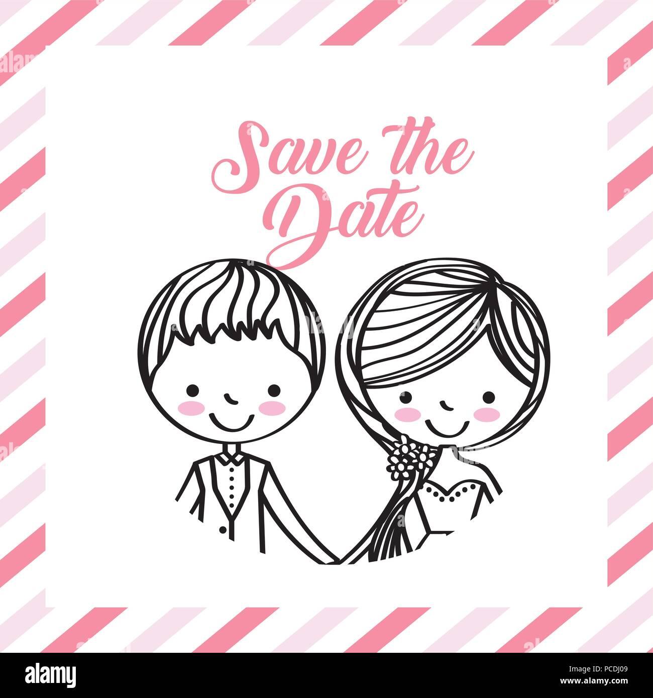 cute wedding couple portrait frame stripes vector illustration Stock ...