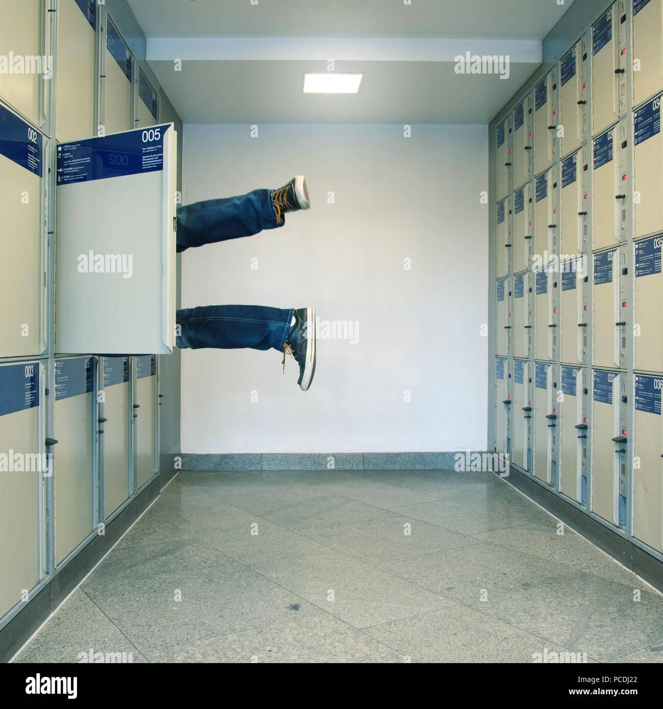 humor,bizarre,leg,lockers,stow - Stock Image