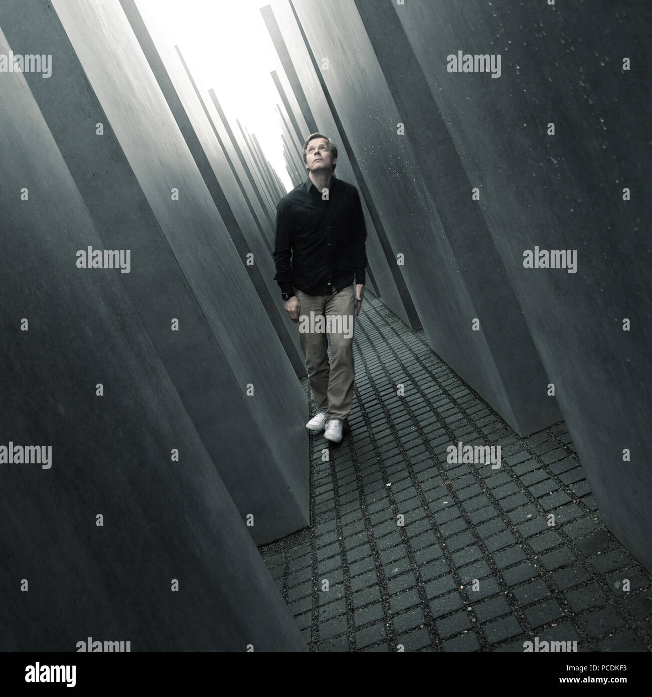 memorial,mourning,memorial to the murdered jews of europe - Stock Image