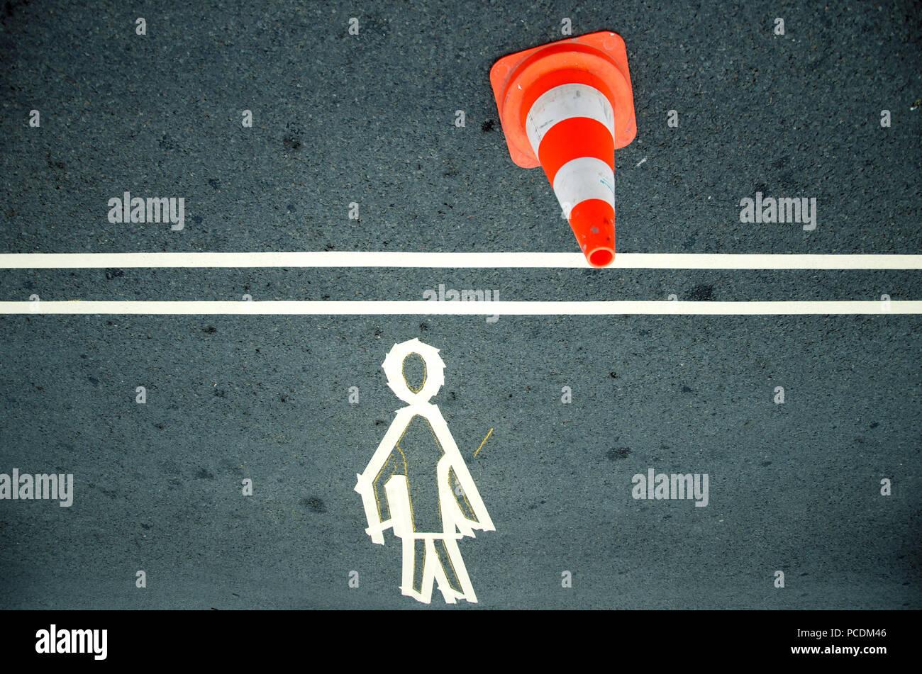marker,pedestrian,walkway,traffic cone - Stock Image