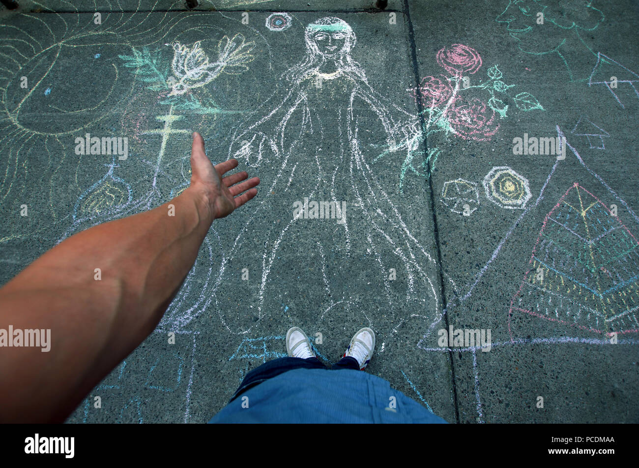 chalk drawing,graffiti - Stock Image
