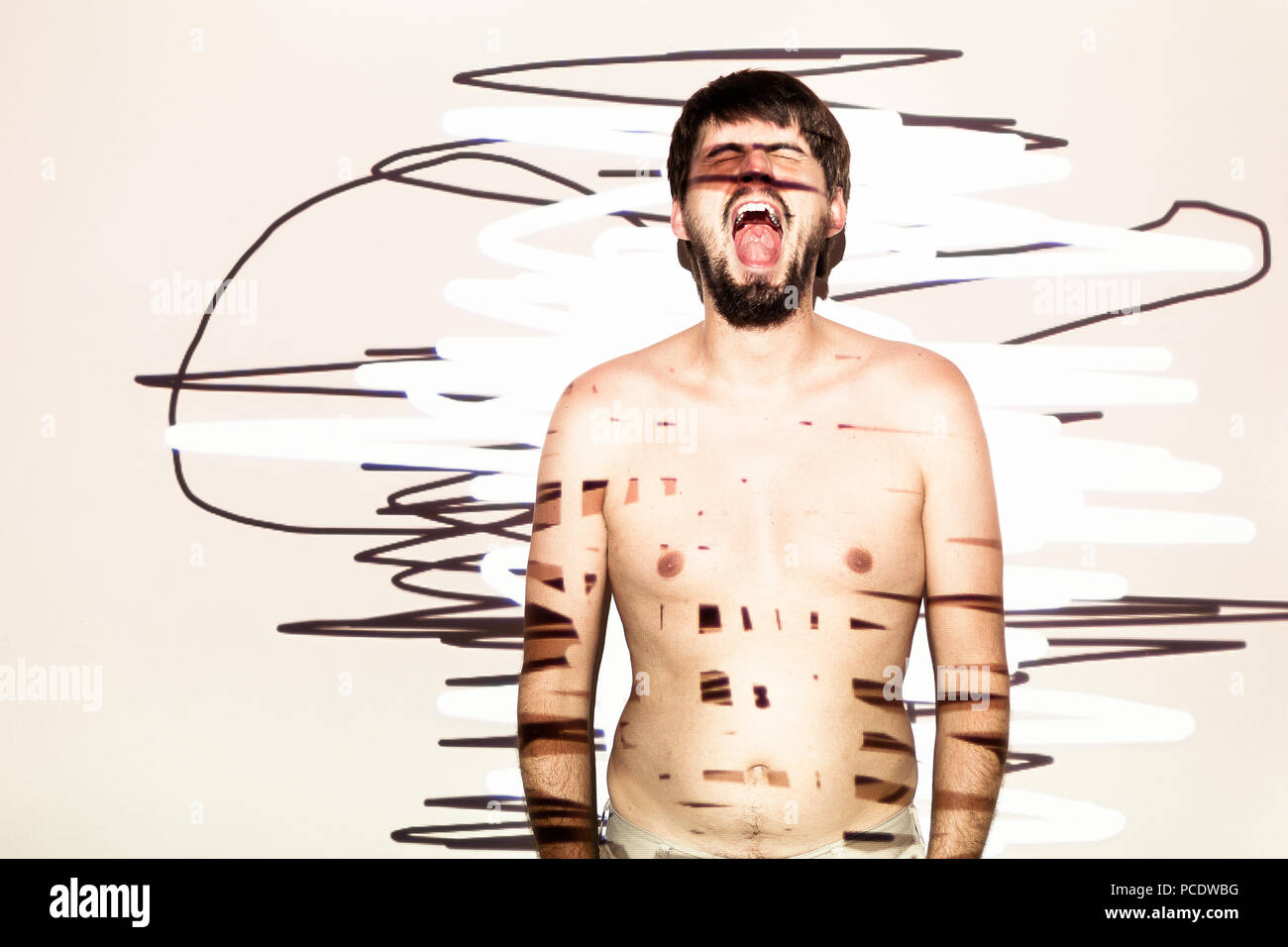 art,shouting,abstract,madness - Stock Image