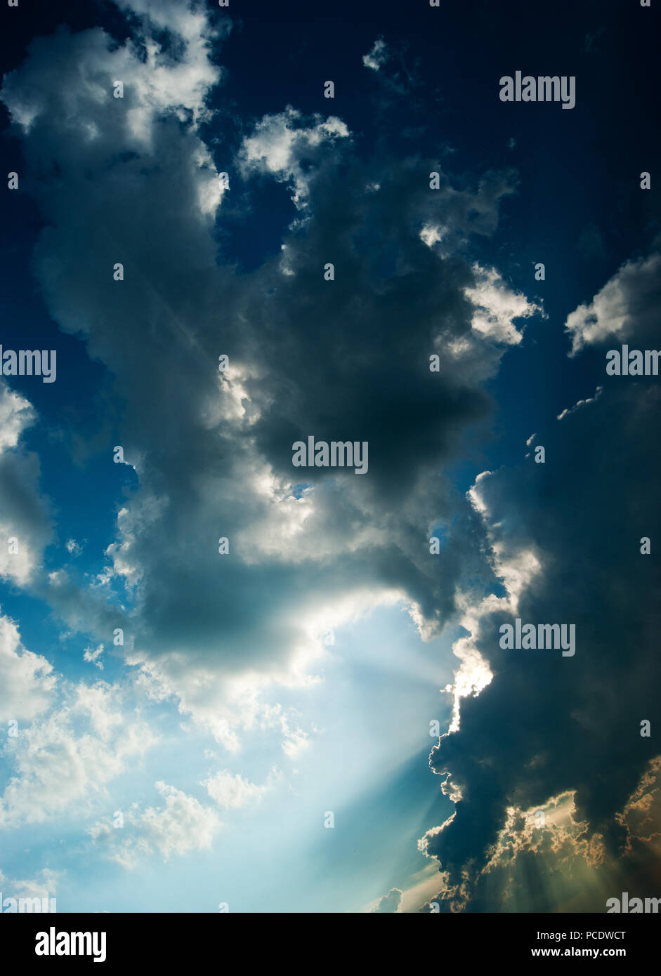 cloudscape,sunbeams - Stock Image