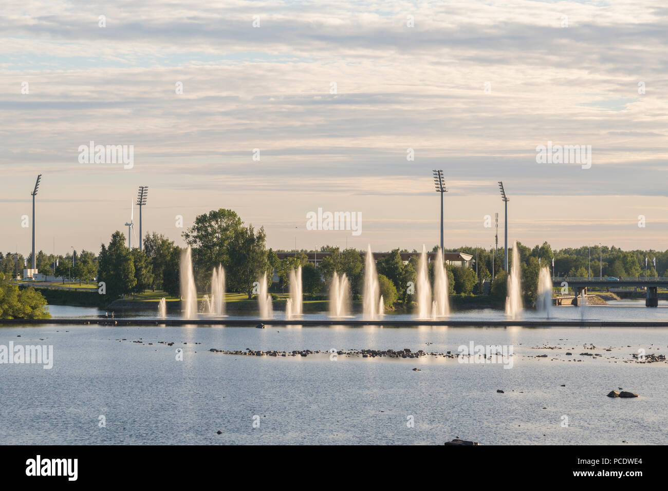 Fountains in Oulu, Finland - Stock Image