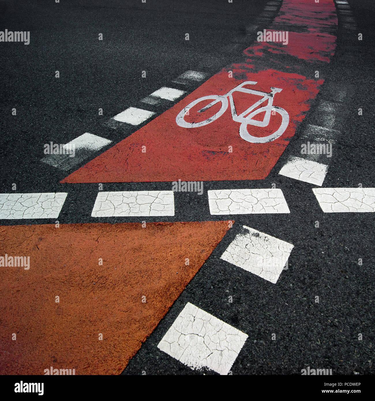bike lane,bicycle lane,road marking - Stock Image