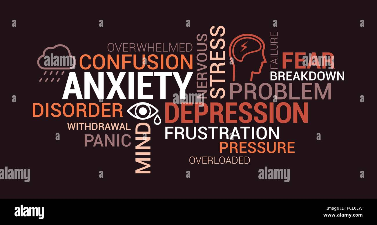 Anxiety, panic and depression tag cloud with words, concepts and icons Stock Vector