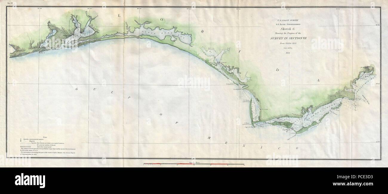 Map Western Florida.8 1853 U S Coast Survey Map Of The Western Florida Panhandle