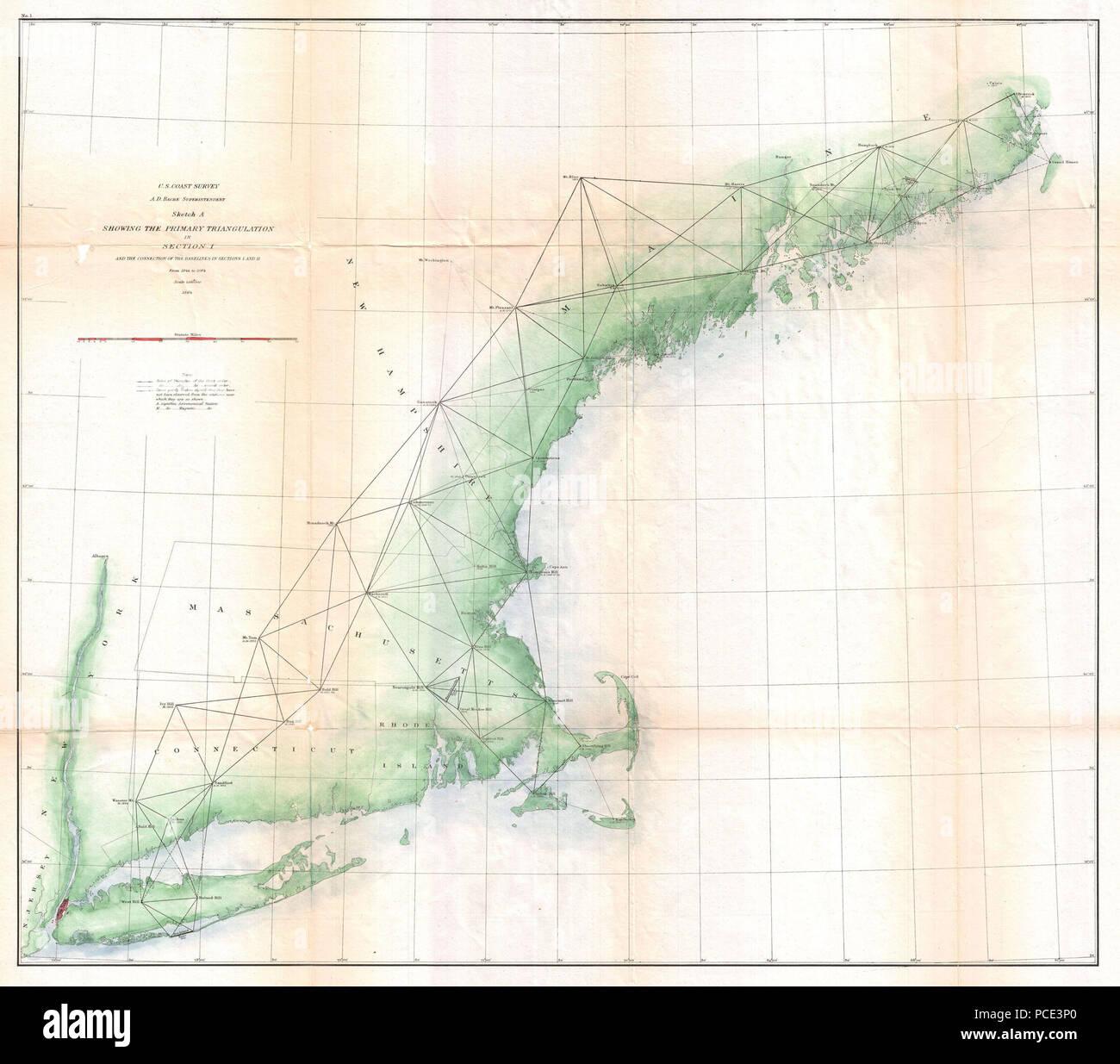 U S Coast Survey Map Or Trianguation Chart Of New England