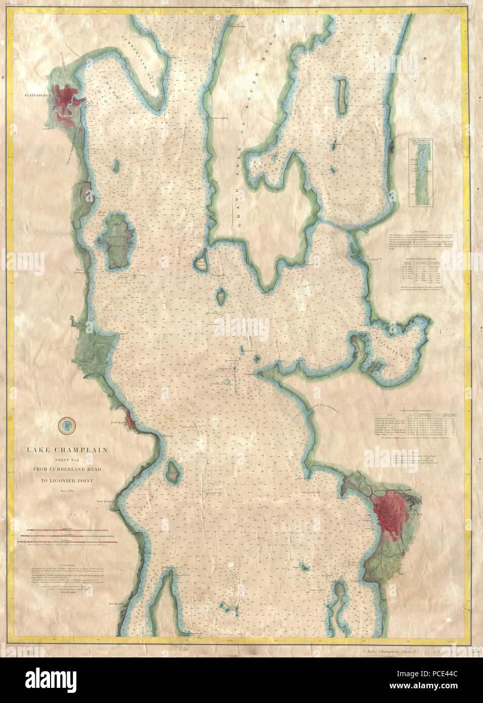 10 1874 Uscs Map Or Chart Of Lake Champlain Burlington Vt - Lake-champlain-on-us-map