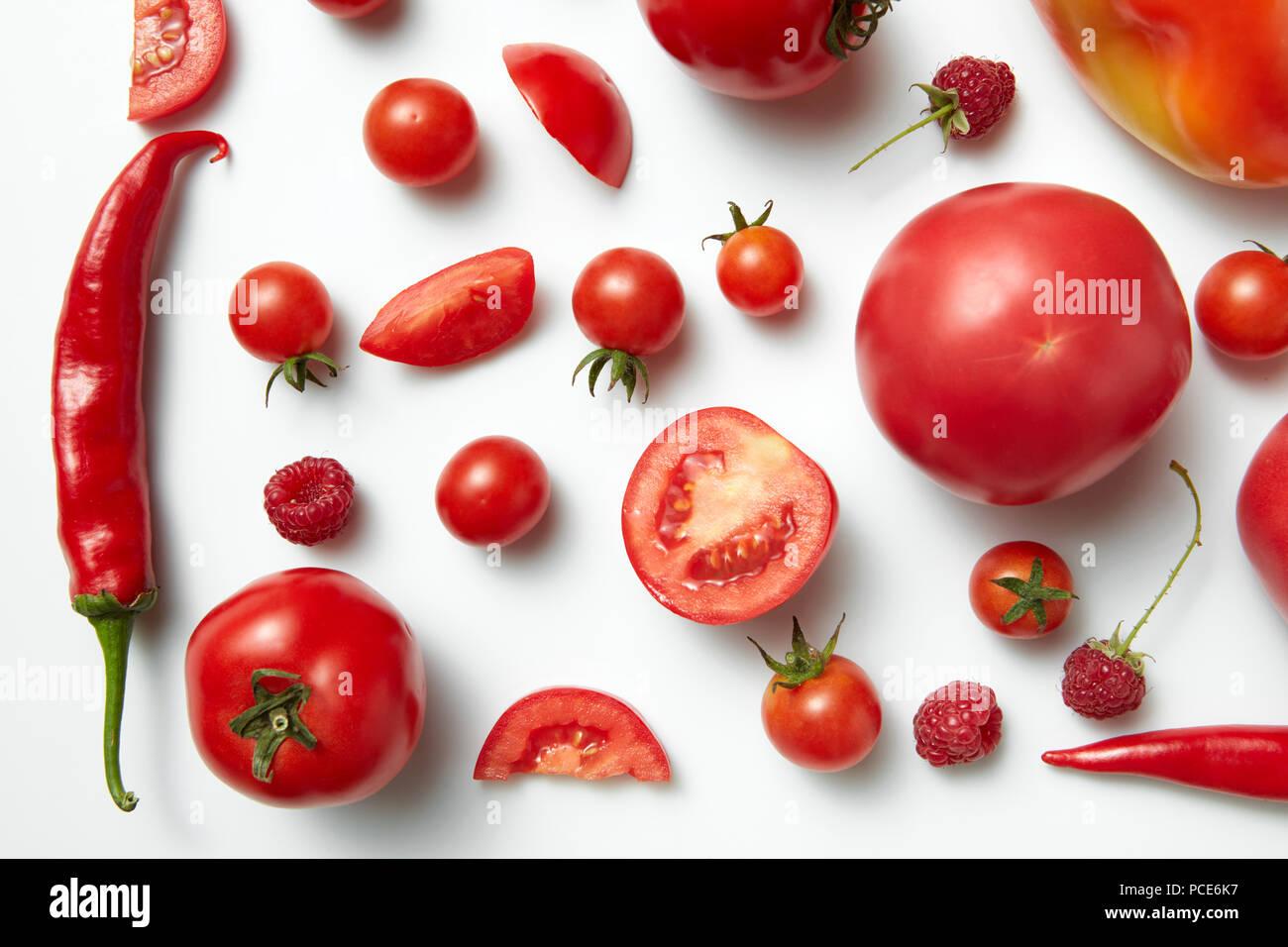 raspberry,chili peppers,cherry tomato - Stock Image