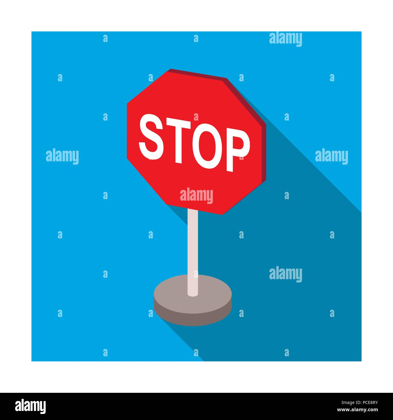 Stop Road Sign Icon In Flat Design Isolated On White Background