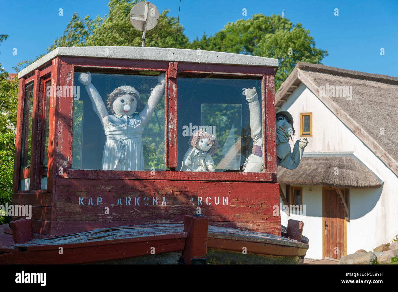 Wheelhouse of an old fishing boat in front of the inn Arcun at Cape Arkona, Putgarten, Rügen, Mecklenburg-Vorpommern, Germany, Europe - Stock Image