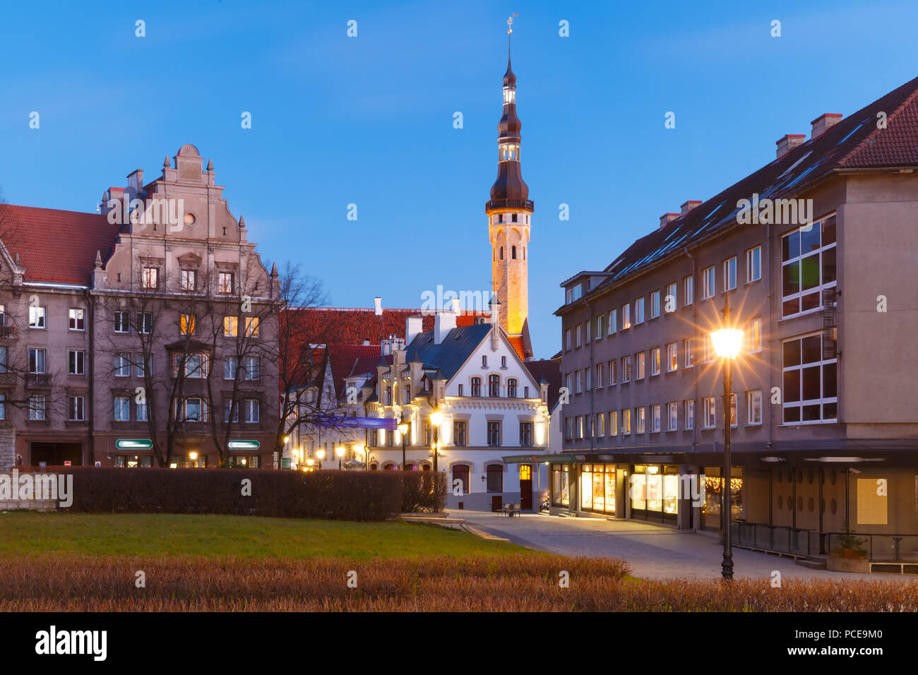 Night street in the Old Town of Tallinn, Estonia Stock Photo