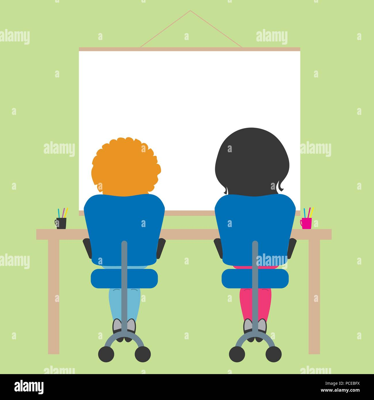 Two schoolchildren sitting on chair in school classroom with green wall and whiteboard with space for text - vector - Stock Vector