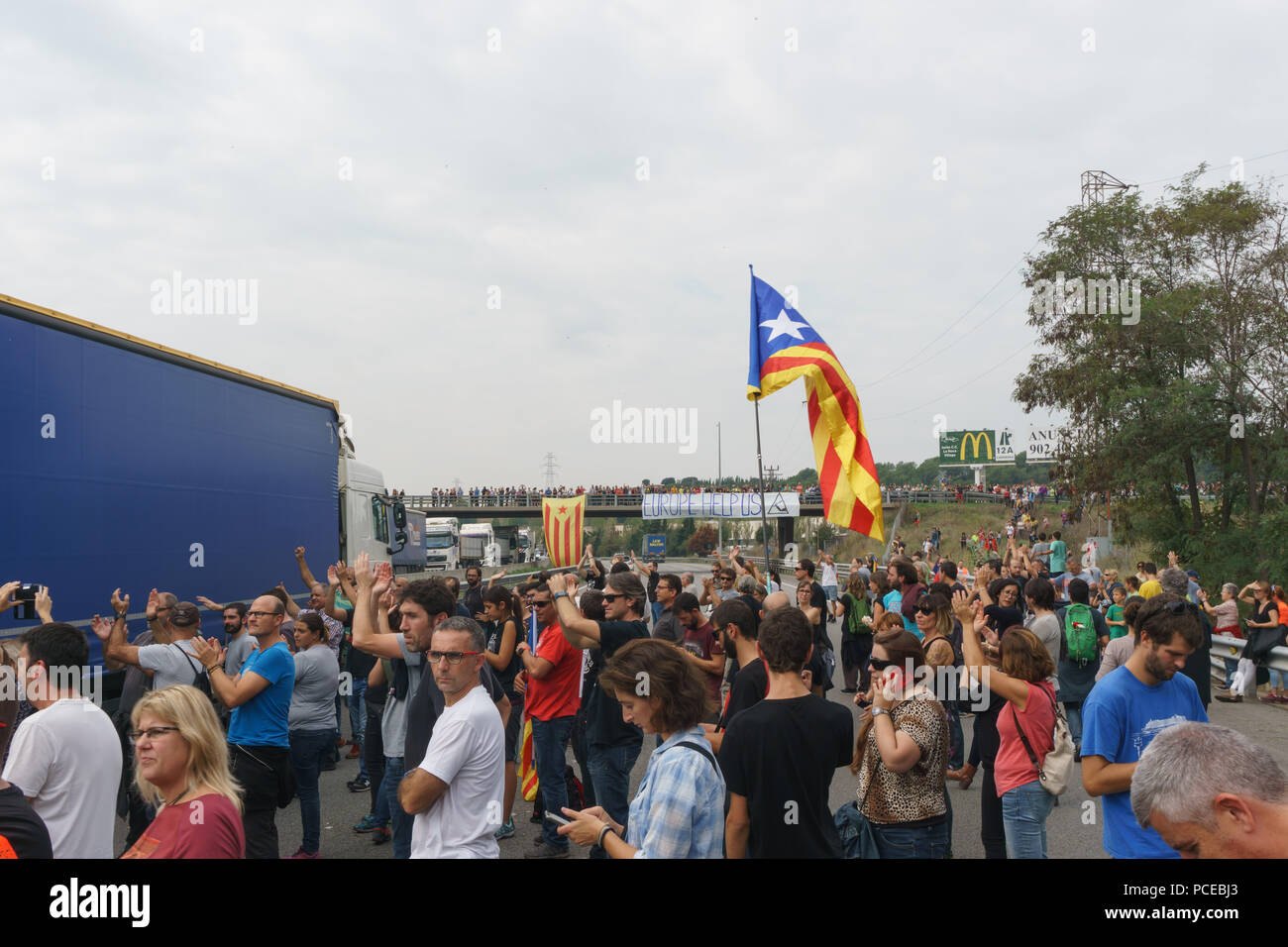 Cardedeu, Catalonia, Spain, October 3, 2017: paceful people