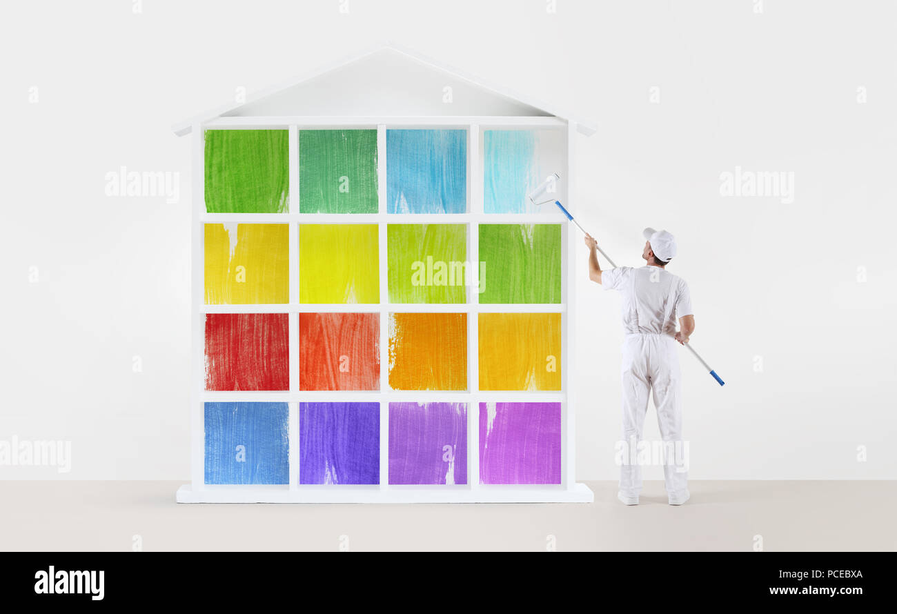 Home service concept painter man with paint roller - Best roller for exterior painting ...